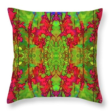 Throw Pillow featuring the digital art Red And Green Floral Abstract by Linda Phelps