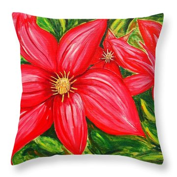 Red And Green Throw Pillow by J R Seymour