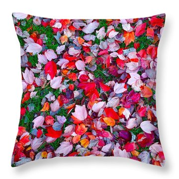 Red And Green Leaves Throw Pillow