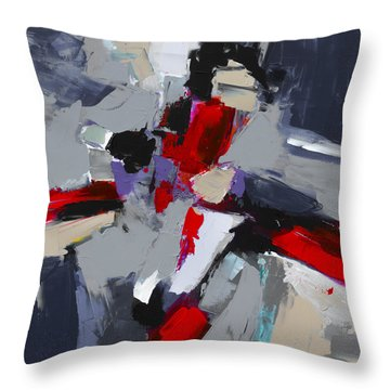 Red And Grey Abstract By Elise Palmigiani Throw Pillow by Elise Palmigiani