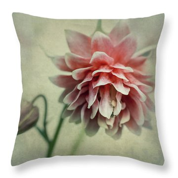 Red And Pink Columbine Throw Pillow