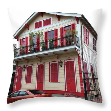 Red And Tan House Throw Pillow