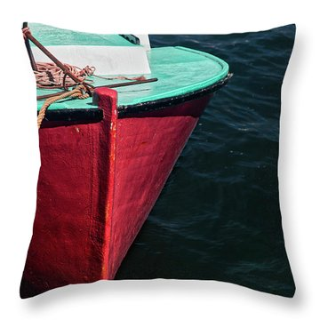 Red And Turquoise Fishing Boat Throw Pillow