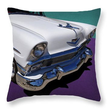 Red And White 1950s Chevrolet Wagon Throw Pillow