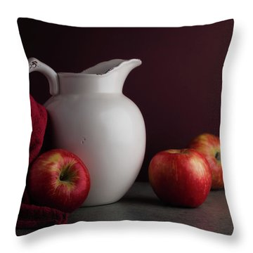Red And White Apple Still Life Throw Pillow