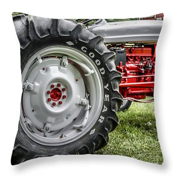 Red And White Ford Model 600 Tractor Throw Pillow