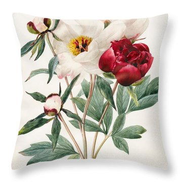 Red And White Herbaceous Peonies Throw Pillow
