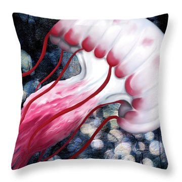 Red And White Jellyfish  Throw Pillow