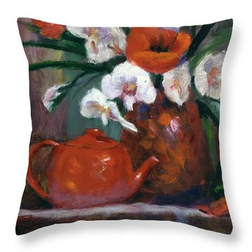 Red And White Throw Pillow by Linda Hiller