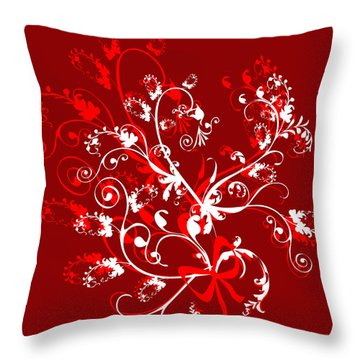 Red And White Ornaments Throw Pillow by Svetlana Sewell
