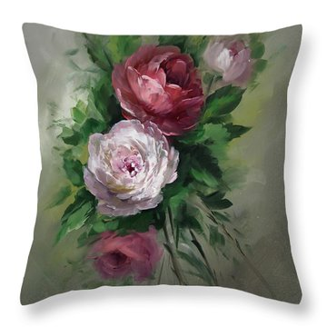 Red And White Roses Throw Pillow by David Jansen