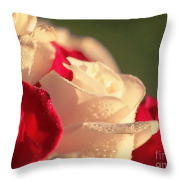 Red And White Roses Throw Pillow