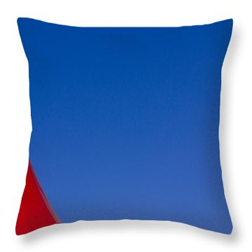 Red And White Triangles Throw Pillow by Prakash Ghai