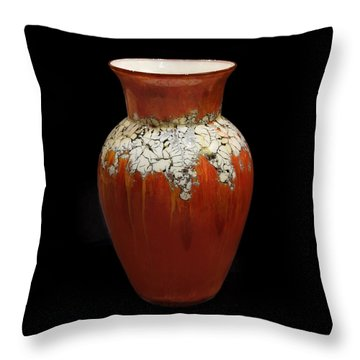 Red And White Vase Throw Pillow