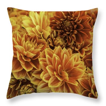 Red And Yellow Dahlias Throw Pillow