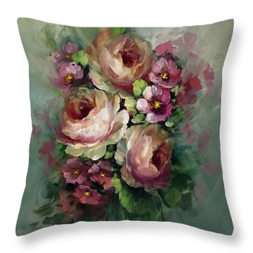 Red And Yellow Flowers Throw Pillow by David Jansen
