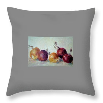 Red And Yellow Onions Throw Pillow by Jill Musser
