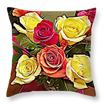 Red And Yellow Rose Bouquet Throw Pillow