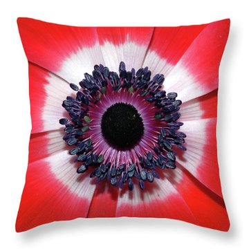 Red Anemone V2 Throw Pillow