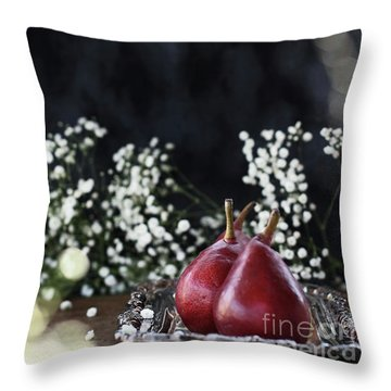 Throw Pillow featuring the photograph Red Anjou Pears by Stephanie Frey