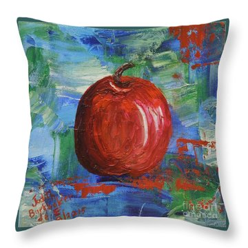 Red Apple Rhapsody-sold Throw Pillow by Judith Espinoza