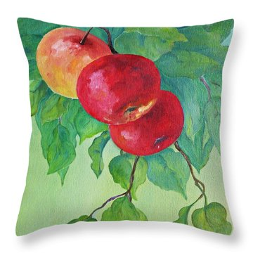 Throw Pillow featuring the painting Red Apples by AmaS Art