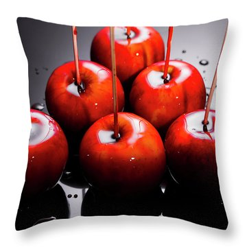 Red Apples With Caramel  Throw Pillow