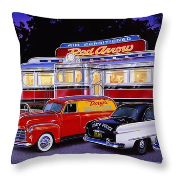 Red Arrow Diner Throw Pillow by Bruce Kaiser