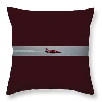 Throw Pillow featuring the photograph Red Arrow Straight - Teesside Airshow 2016 by Scott Lyons