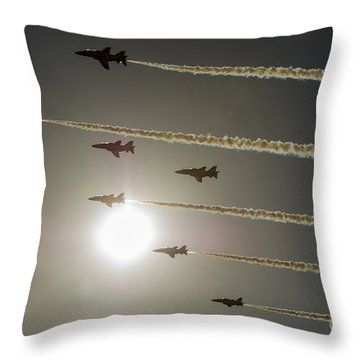 Throw Pillow featuring the photograph Red Arrows Backlit Arrival  by Gary Eason