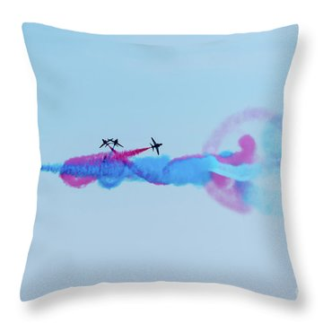 Throw Pillow featuring the photograph Red Arrows Break by Gary Eason