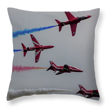 Throw Pillow featuring the photograph Red Arrows Break Off - Teesside Airshow 2016 by Scott Lyons
