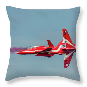 Throw Pillow featuring the photograph Red Arrows Crossover by Gary Eason