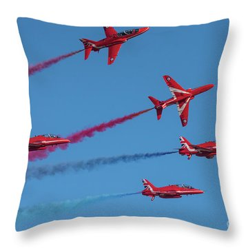 Throw Pillow featuring the photograph Red Arrows Enid Break by Gary Eason