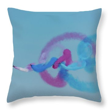 Throw Pillow featuring the photograph Red Arrows Gypo Swirls by Gary Eason