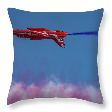 Throw Pillow featuring the photograph Red Arrows Hawk Inverted  by Gary Eason
