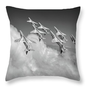 Throw Pillow featuring the photograph Red Arrows Sky High Bw Version by Gary Eason