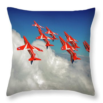 Throw Pillow featuring the photograph Red Arrows Sky High by Gary Eason