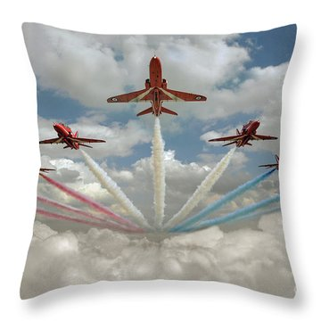Throw Pillow featuring the photograph Red Arrows Smoke On  by Gary Eason