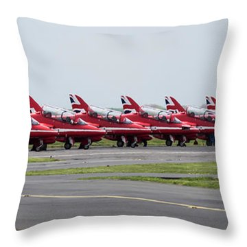 Throw Pillow featuring the photograph Red Arrows - Teesside Airshow 2016 Aircraft Check by Scott Lyons