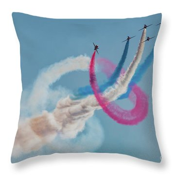 Throw Pillow featuring the photograph Red Arrows Twister by Gary Eason