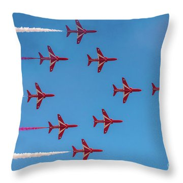 Throw Pillow featuring the photograph Red Arrows Typhoon Formation by Gary Eason