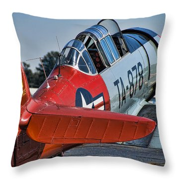 Red At-6 Throw Pillow by Steven Richardson