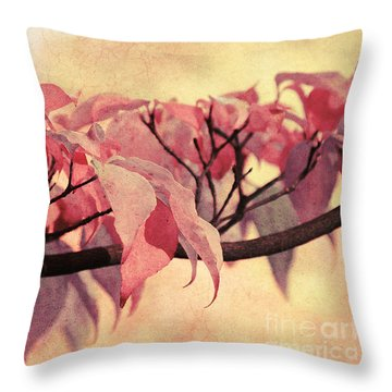 Red Autumn Day Throw Pillow by Angela Doelling AD DESIGN Photo and PhotoArt