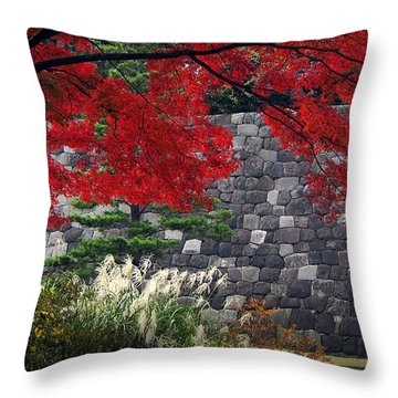 Red Autumn Throw Pillow by Eena Bo