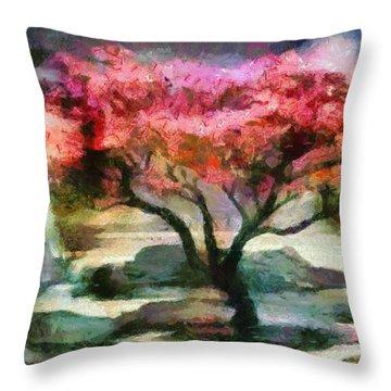 Red Autumn Tree Throw Pillow