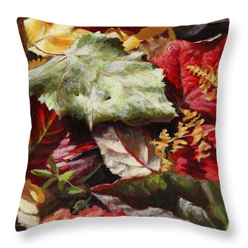 Red Autumn - Wasilla Leaves Throw Pillow
