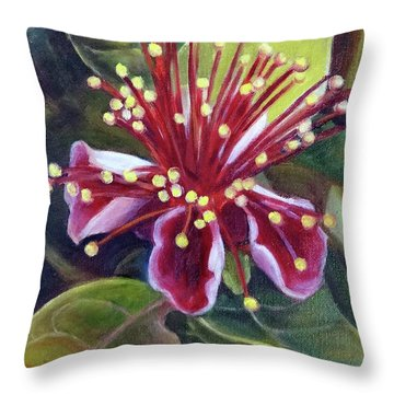 Pineapple Guava Flower Throw Pillow