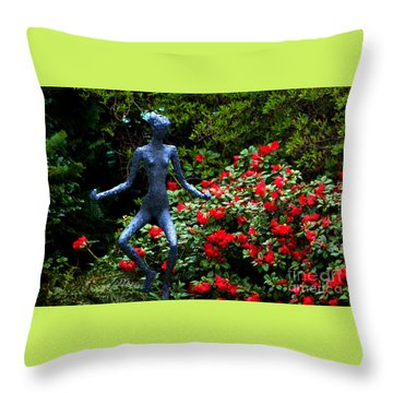 Throw Pillow featuring the photograph Red Azalea Lady by Susanne Van Hulst