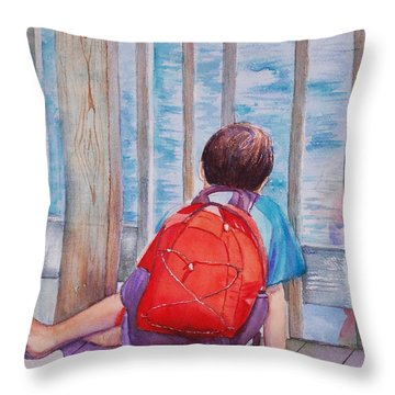 Red Backpack Throw Pillow